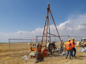 A borehole drilling rig from the recent site investigation campaign.